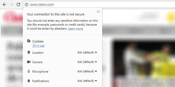 google chrome güvenli olmayan site uyarısı