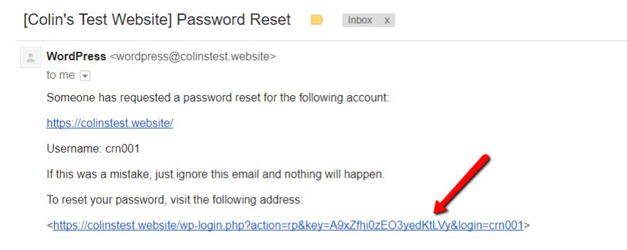 wordpress admin şifre sıfırlama mail