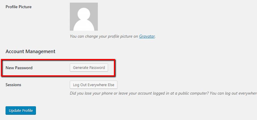 wordpress yeni şifre oluşturma